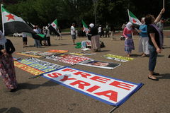 Protest the Syrian Diaspora against Russia's support of Assad's regime royalty free stock image