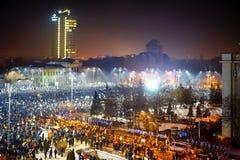 Protest tegen corruptie in Boekarest, Roemenië stock foto