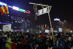 Protest tegen corruptie en Roemeense Overheid stock afbeeldingen