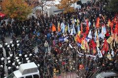 Protest tegen de arrestatie van Koerdische parlementariërs Stock Foto's