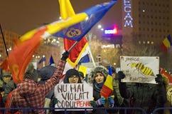 Protest tegen de overheid in Boekarest Stock Foto