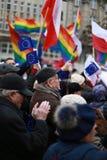 Protest tegen de vernietiging van de afdeling van bevoegdheden, het protestcomité de Defensie van Democratie (KOD), Poznan, Polen royalty-vrije stock foto's