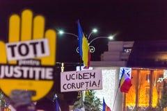Protest tegen de wetten van Rechtvaardigheid in Boekarest Stock Afbeelding