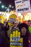 Protest tegen de wetten van Rechtvaardigheid in Boekarest Royalty-vrije Stock Afbeelding