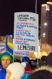 Protest tegen de wetten van Rechtvaardigheid in Boekarest Royalty-vrije Stock Foto's