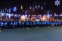 Protest tegen de wetten van Rechtvaardigheid in Boekarest Royalty-vrije Stock Fotografie
