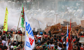 Protest tegen Filippijnse President Aquino stock foto's
