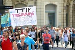 Protest tegen Monsanto, Zagreb, Kroatië Royalty-vrije Stock Fotografie