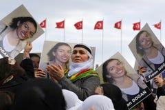 Protest tegen moord van leden PKK in Istanboel royalty-vrije stock afbeelding