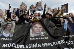 Protest tegen moord van leden PKK in Istanboel royalty-vrije stock fotografie