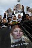Protest tegen moord van leden PKK in Istanboel stock fotografie