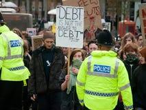 Protest tegen onderwijsbesnoeiingen in het UK Royalty-vrije Stock Foto