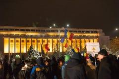Protest tegen overheid in Boekarest, Roemenië Royalty-vrije Stock Afbeelding