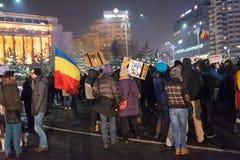 Protest tegen overheid in Boekarest, Roemenië Royalty-vrije Stock Foto