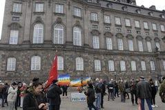 PROTEST TEGEN OVERHEID VOORAAN HET PARLEMENT Royalty-vrije Stock Afbeelding