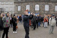 PROTEST TEGEN OVERHEID VOORAAN HET PARLEMENT Royalty-vrije Stock Foto