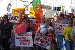 Protest tegen strengheid - Loule stock foto