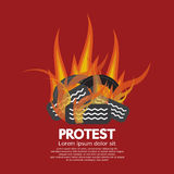 Protest By Tires Burned Stock Photos