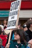 Protest at UK LibDem Conference; Listen! Royalty Free Stock Photo