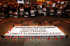 Protest of the Uludere Massacre in Istanbul,Turkey Stock Image