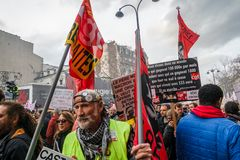 Protest of the Unions against the french retirement pension reform in Paris