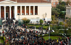 Protest University Athens. December 19, 2008. Mass protest outside the University of Athens. All recognizable faces have been blurred royalty free stock photos