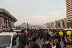 In Protest van President Park Geun-hye Stock Foto's