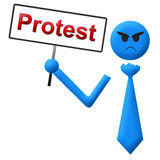 Protest-verärgertes Mann-Schild-Blau Stockfotos