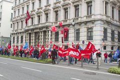 Protest Versicherung in der Triest-8. April 2011 Generali Lizenzfreies Stockfoto