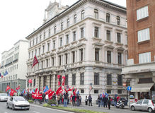 Protest Versicherung in der Triest-8. April 2011 Generali Lizenzfreie Stockfotografie