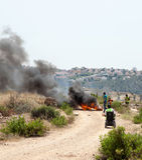 Protest vid avskiljandeväggen Palestina Israel Conflict West Ba Royaltyfri Fotografi