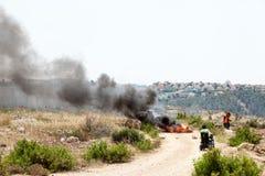 Protest vid avskiljandeväggen Palestina Israel Conflict West Ba Royaltyfria Bilder
