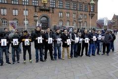 PROTEST VID HIZB UT-TAHIRIR AGAINT DANMARK Arkivbilder