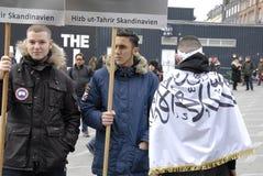 PROTEST VID HIZB UT-TAHIRIR AGAINT DANMARK Arkivfoton