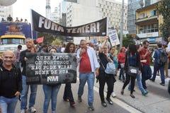 Protest von Arbeitskräften in Sao Paulo stockfotos