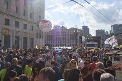 Protest von Lehrern gegen Sozialversicherungsreform Sao-Paulo, Brasilien Lizenzfreies Stockfoto