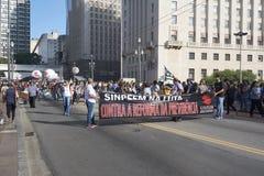 Protest von Lehrern gegen Sozialversicherungsreform Sao-Paulo, Brasilien Lizenzfreie Stockbilder