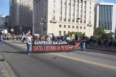 Protest von Lehrern gegen Sozialversicherungsreform Sao-Paulo, Brasilien Lizenzfreie Stockfotografie