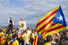 Protest voor de onafhankelijkheid van Catalonië Stock Foto's