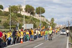 Protest voor de onafhankelijkheid van Catalonië Royalty-vrije Stock Fotografie