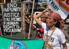 Protest während des Menschenrechts-Tages Stockfotografie