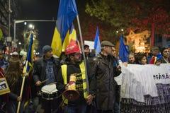 Protest w Bucharest - 05 2017 Listopad Zdjęcie Stock