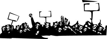 Protest. Woodcut style image of a riot or protest Royalty Free Stock Image