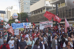 Protest of workers in Sao Paulo. Stock Images