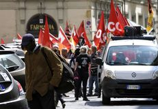 Protest workers in the square stock photography