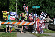Protesta al funerale del Dott. George Tiller Fotografia Stock