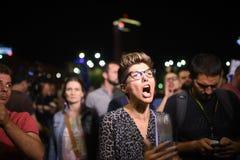 Protesta anti de la corte del top del ` s de Rumania, Bucarest, Rumania - 30 de mayo de 20 Imagen de archivo