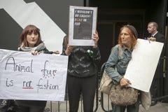 Protesta anti de la piel durante la semana de la moda de Londres Eudon Choi exterior Fotos de archivo libres de regalías