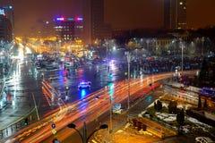 Protesta anti del gobierno en Victory Square, Bucarest, Rumania Fotos de archivo