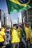 Protesta anticorrupción en Sao Paulo, el Brasil Fotos de archivo libres de regalías
